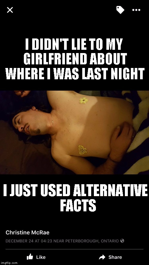 Drunk | I DIDN'T LIE TO MY GIRLFRIEND ABOUT WHERE I WAS LAST NIGHT I JUST USED ALTERNATIVE  FACTS | image tagged in drunk | made w/ Imgflip meme maker
