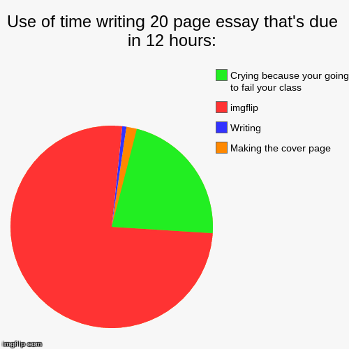 Use of time writing 20 page essay that's due in 12 hours: | Making the cover page, Writing, imgflip, Crying because your going to fail your  | image tagged in funny,pie charts | made w/ Imgflip chart maker