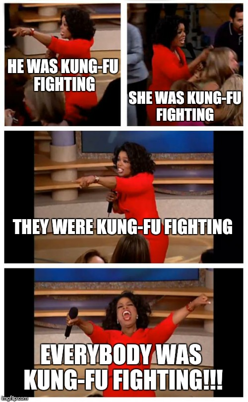 Oprah You Get A Car Everybody Gets A Car Meme | HE WAS KUNG-FU FIGHTING SHE WAS KUNG-FU FIGHTING THEY WERE KUNG-FU FIGHTING EVERYBODY WAS KUNG-FU FIGHTING!!! | image tagged in memes,oprah you get a car everybody gets a car | made w/ Imgflip meme maker