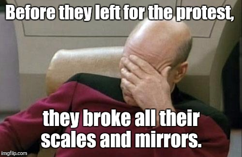 Captain Picard Facepalm Meme | Before they left for the protest, they broke all their scales and mirrors. | image tagged in memes,captain picard facepalm | made w/ Imgflip meme maker
