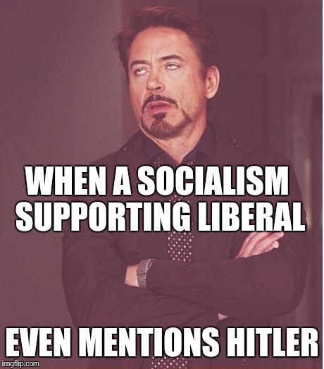 Face You Make Robert Downey Jr Meme | WHEN A SOCIALISM SUPPORTING LIBERAL EVEN MENTIONS HITLER | image tagged in memes,face you make robert downey jr | made w/ Imgflip meme maker
