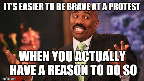 Steve Harvey Meme | IT'S EASIER TO BE BRAVE AT A PROTEST WHEN YOU ACTUALLY HAVE A REASON TO DO SO | image tagged in memes,steve harvey | made w/ Imgflip meme maker