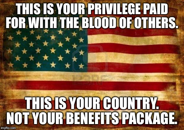 Old American Flag | THIS IS YOUR PRIVILEGE PAID FOR WITH THE BLOOD OF OTHERS. THIS IS YOUR COUNTRY. NOT YOUR BENEFITS PACKAGE. | image tagged in old american flag | made w/ Imgflip meme maker