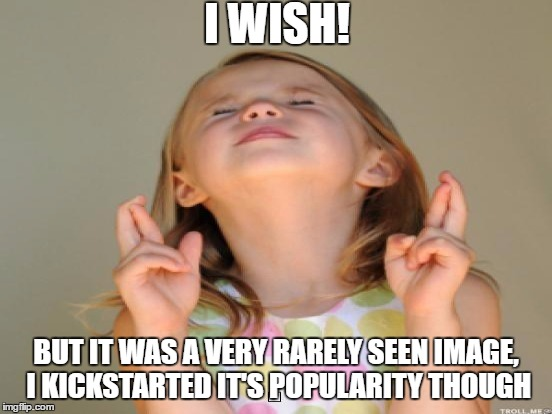 I WISH! BUT IT WAS A VERY RARELY SEEN IMAGE, I KICKSTARTED IT'S POPULARITY THOUGH | made w/ Imgflip meme maker