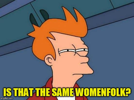 Futurama Fry Meme | IS THAT THE SAME WOMENFOLK? | image tagged in memes,futurama fry | made w/ Imgflip meme maker