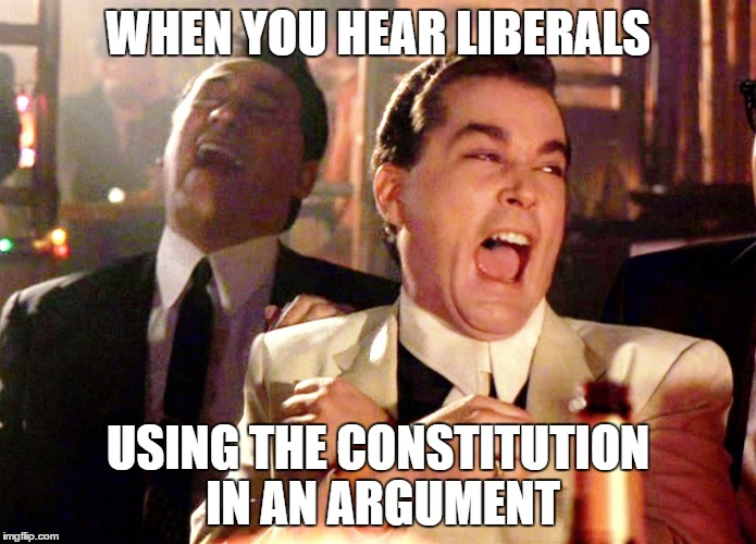 Liberals and Constitution | WHEN YOU HEAR LIBERALS USING THE CONSTITUTION IN AN ARGUMENT | image tagged in memes,good fellas hilarious,liberals,occupy democrats,trump | made w/ Imgflip meme maker
