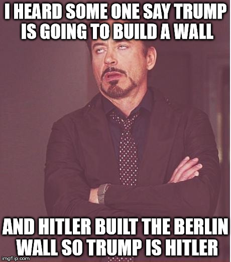 Face You Make Robert Downey Jr Meme | I HEARD SOME ONE SAY TRUMP IS GOING TO BUILD A WALL AND HITLER BUILT THE BERLIN WALL SO TRUMP IS HITLER | image tagged in memes,face you make robert downey jr | made w/ Imgflip meme maker