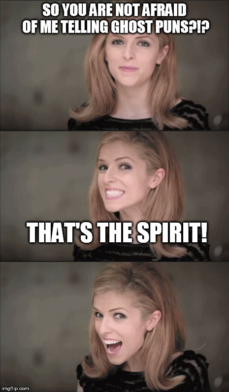 Bad Pun Anna Kendrick Meme | SO YOU ARE NOT AFRAID OF ME TELLING GHOST PUNS?!? THAT'S THE SPIRIT! | image tagged in memes,bad pun anna kendrick,ghosts | made w/ Imgflip meme maker