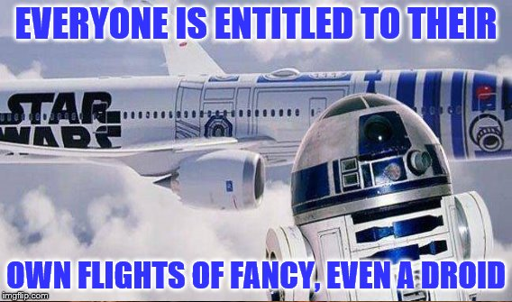 EVERYONE IS ENTITLED TO THEIR OWN FLIGHTS OF FANCY, EVEN A DROID | made w/ Imgflip meme maker