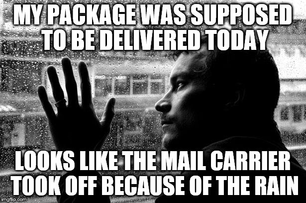 Over Educated Problems | MY PACKAGE WAS SUPPOSED TO BE DELIVERED TODAY LOOKS LIKE THE MAIL CARRIER TOOK OFF BECAUSE OF THE RAIN | image tagged in memes,over educated problems | made w/ Imgflip meme maker