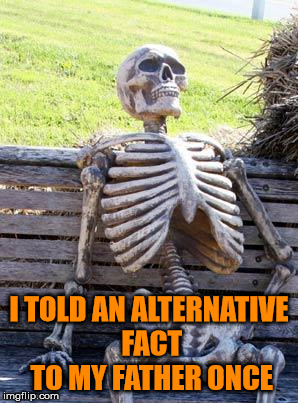 Waiting Skeleton Meme | I TOLD AN ALTERNATIVE FACT TO MY FATHER ONCE | image tagged in memes,waiting skeleton | made w/ Imgflip meme maker