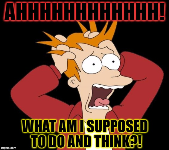 AHHHHHHHHHHHH! WHAT AM I SUPPOSED TO DO AND THINK?! | made w/ Imgflip meme maker