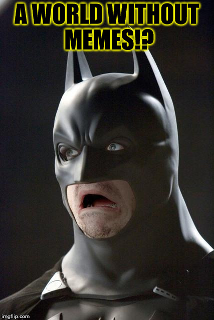 Batman Gasp | A WORLD WITHOUT MEMES!? | image tagged in batman gasp | made w/ Imgflip meme maker