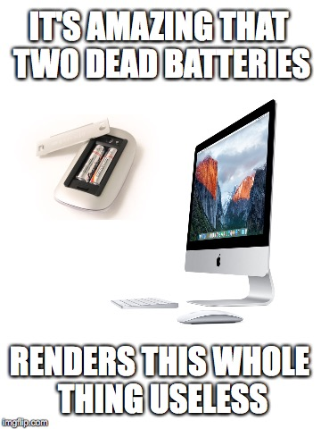 What the hell is wrong with my $2,000. computer? oh, $2. batteries (eyeroll) | IT'S AMAZING THAT TWO DEAD BATTERIES RENDERS THIS WHOLE THING USELESS | image tagged in mouse,batteries,computer,useless | made w/ Imgflip meme maker