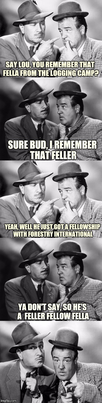 Badum tsst! | SAY LOU, YOU REMEMBER THAT FELLA FROM THE LOGGING CAMP? SURE BUD, I REMEMBER THAT FELLER YEAH, WELL HE JUST GOT A FELLOWSHIP WITH FORESTRY I | image tagged in abbott and costello crackin' wize,sewmyeyesshut,funny memes | made w/ Imgflip meme maker