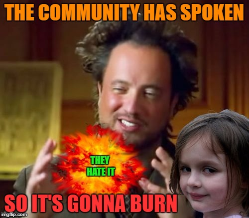 THE COMMUNITY HAS SPOKEN THEY HATE IT SO IT'S GONNA BURN | made w/ Imgflip meme maker