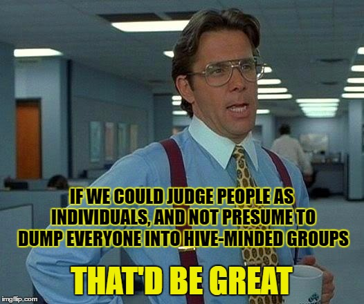 The Hive-mind is a myth | IF WE COULD JUDGE PEOPLE AS INDIVIDUALS, AND NOT PRESUME TO DUMP EVERYONE INTO HIVE-MINDED GROUPS THAT'D BE GREAT | image tagged in memes,that would be great,hive-mind,individuals | made w/ Imgflip meme maker