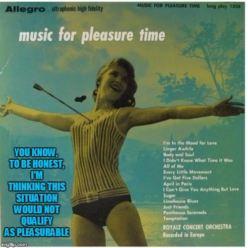 Bad Album Art Week: apparently she missed the archery practice notice on the summer camp schedule | YOU KNOW, TO BE HONEST, I'M THINKING THIS SITUATION WOULD NOT QUALIFY AS PLEASURABLE | image tagged in bad album art week,bad album art,memes | made w/ Imgflip meme maker