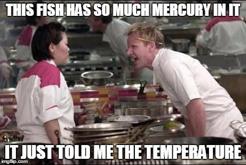 Angry Chef Gordon Ramsay Meme | THIS FISH HAS SO MUCH MERCURY IN IT IT JUST TOLD ME THE TEMPERATURE | image tagged in memes,angry chef gordon ramsay | made w/ Imgflip meme maker