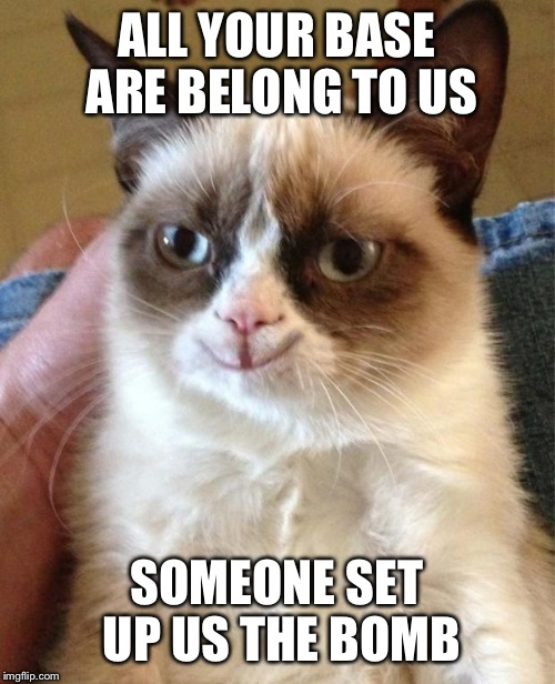 Happy grumpy cat | ALL YOUR BASE ARE BELONG TO US SOMEONE SET UP US THE BOMB | image tagged in happy grumpy cat | made w/ Imgflip meme maker