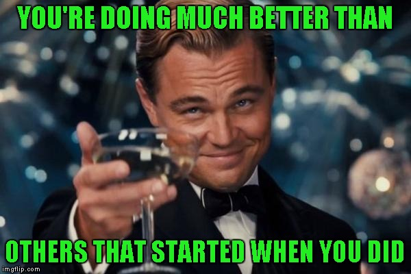 Leonardo Dicaprio Cheers Meme | YOU'RE DOING MUCH BETTER THAN OTHERS THAT STARTED WHEN YOU DID | image tagged in memes,leonardo dicaprio cheers | made w/ Imgflip meme maker