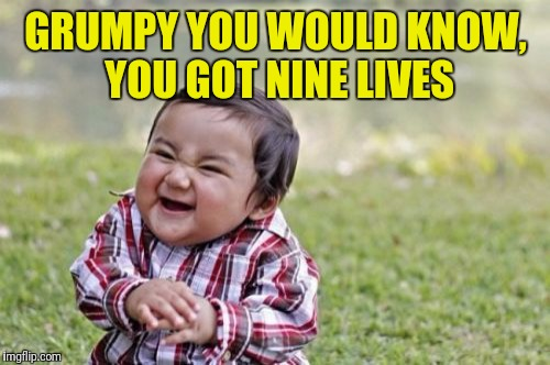 Evil Toddler Meme | GRUMPY YOU WOULD KNOW, YOU GOT NINE LIVES | image tagged in memes,evil toddler | made w/ Imgflip meme maker