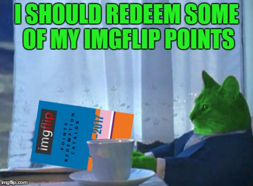 RayCat redeeming points | I SHOULD REDEEM SOME OF MY IMGFLIP POINTS | image tagged in raycat redeeming points,memes | made w/ Imgflip meme maker
