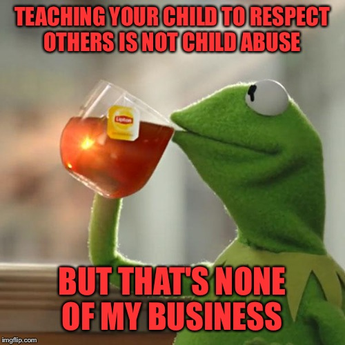 If my 15 year old spoke to an adult the way some teenagers do he would eat his teeth. I taught him respect as a toddler though.  | TEACHING YOUR CHILD TO RESPECT OTHERS IS NOT CHILD ABUSE BUT THAT'S NONE OF MY BUSINESS | image tagged in memes,but thats none of my business,kermit the frog | made w/ Imgflip meme maker