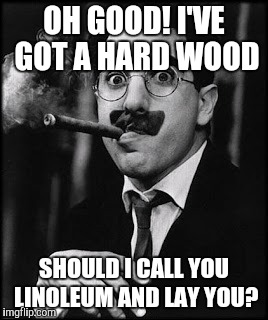 OH GOOD! I'VE GOT A HARD WOOD SHOULD I CALL YOU LINOLEUM AND LAY YOU? | made w/ Imgflip meme maker