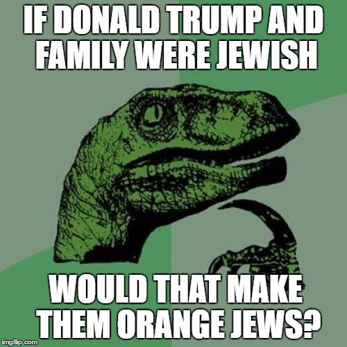 Philosoraptor Meme | IF DONALD TRUMP AND FAMILY WERE JEWISH WOULD THAT MAKE THEM ORANGE JEWS? | image tagged in memes,philosoraptor | made w/ Imgflip meme maker