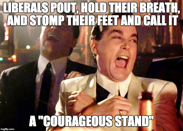 "Good Fellas Hilarious Meme | LIBERALS POUT, HOLD THEIR BREATH, AND STOMP THEIR FEET AND CALL IT A ""COURAGEOUS STAND"" 