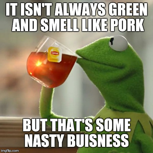 But Thats None Of My Business Meme | IT ISN'T ALWAYS GREEN AND SMELL LIKE PORK BUT THAT'S SOME NASTY BUISNESS | image tagged in memes,but thats none of my business,kermit the frog | made w/ Imgflip meme maker