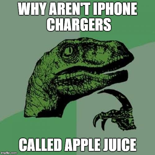 Philosoraptor | WHY AREN'T IPHONE CHARGERS CALLED APPLE JUICE | image tagged in memes,philosoraptor | made w/ Imgflip meme maker