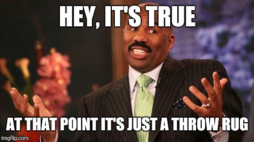 Steve Harvey Meme | HEY, IT'S TRUE AT THAT POINT IT'S JUST A THROW RUG | image tagged in memes,steve harvey | made w/ Imgflip meme maker
