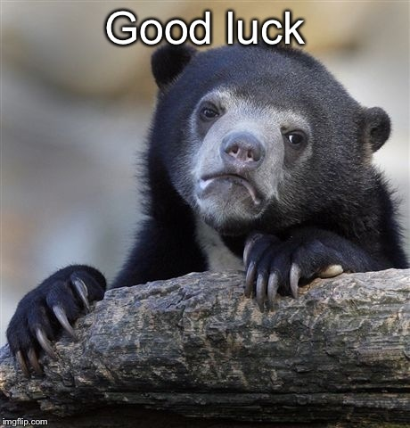 Confession Bear | Good luck | image tagged in confession bear | made w/ Imgflip meme maker