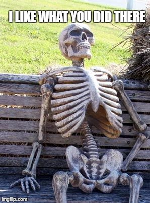 Waiting Skeleton Meme | I LIKE WHAT YOU DID THERE | image tagged in memes,waiting skeleton | made w/ Imgflip meme maker