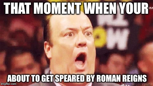 THAT MOMENT WHEN YOUR; ABOUT TO GET SPEARED BY ROMAN REIGNS | image tagged in spear | made w/ Imgflip meme maker