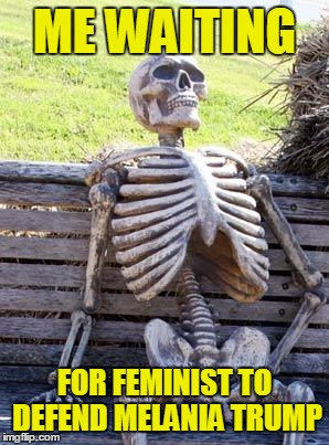 Feminist...whatever those are | ME WAITING FOR FEMINIST TO DEFEND MELANIA TRUMP | image tagged in memes,waiting skeleton,angry feminist,trump 2016,butthurt liberals,hypocritical | made w/ Imgflip meme maker
