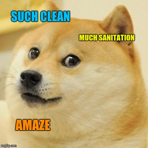 Doge Meme | SUCH CLEAN MUCH SANITATION AMAZE | image tagged in memes,doge | made w/ Imgflip meme maker