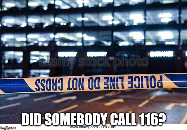 Upsidedown police tape | DID SOMEBODY CALL 116? | image tagged in police tape,upside down | made w/ Imgflip meme maker