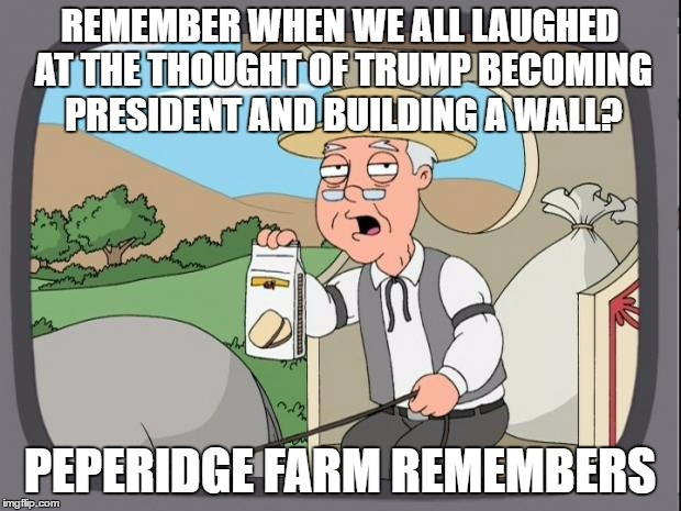 peperidge  |  REMEMBER WHEN WE ALL LAUGHED AT THE THOUGHT OF TRUMP BECOMING PRESIDENT AND BUILDING A WALL? PEPERIDGE FARM REMEMBERS | image tagged in peperidge | made w/ Imgflip meme maker