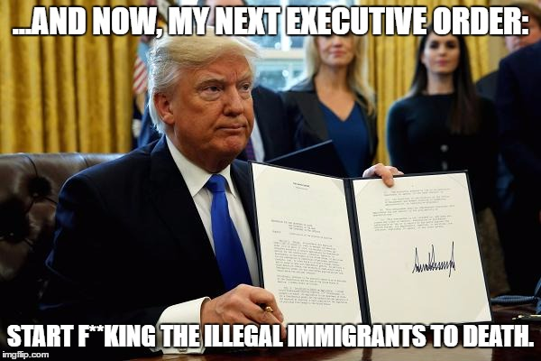 Immigration Policy | ...AND NOW, MY NEXT EXECUTIVE ORDER: START F**KING THE ILLEGAL IMMIGRANTS TO DEATH. | image tagged in donald trump approves,donald trump | made w/ Imgflip meme maker