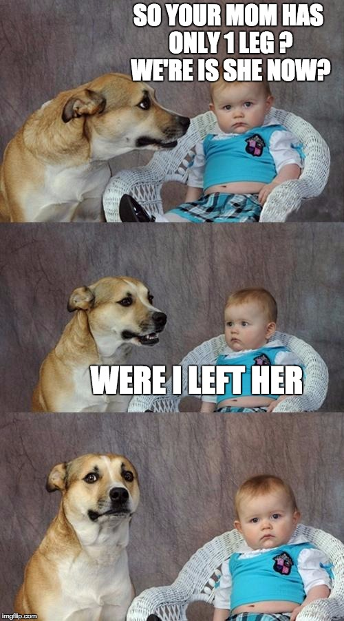 Dad Joke Dog Meme | SO YOUR MOM HAS ONLY 1 LEG ? WE'RE IS SHE NOW? WERE I LEFT HER | image tagged in memes,dad joke dog | made w/ Imgflip meme maker
