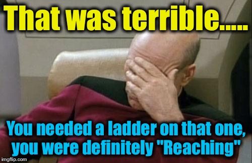 "Captain Picard Facepalm Meme | That was terrible..... You needed a ladder on that one, you were definitely ""Reaching"" 