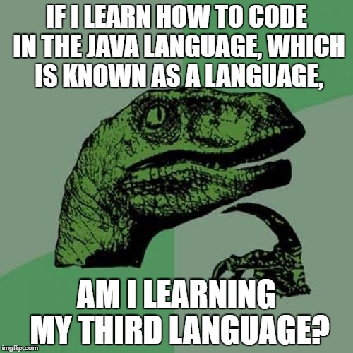 English, Spanish, and...Java? | IF I LEARN HOW TO CODE IN THE JAVA LANGUAGE, WHICH IS KNOWN AS A LANGUAGE, AM I LEARNING MY THIRD LANGUAGE? | image tagged in memes,philosoraptor,coding | made w/ Imgflip meme maker
