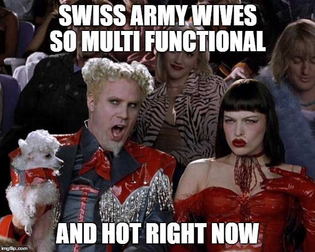 Mugatu So Hot Right Now Meme | SWISS ARMY WIVES SO MULTI FUNCTIONAL AND HOT RIGHT NOW | image tagged in memes,mugatu so hot right now | made w/ Imgflip meme maker