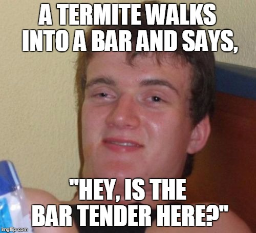 "Raise the Bar, Bubba | A TERMITE WALKS INTO A BAR AND SAYS, ""HEY, IS THE BAR TENDER HERE?"" 