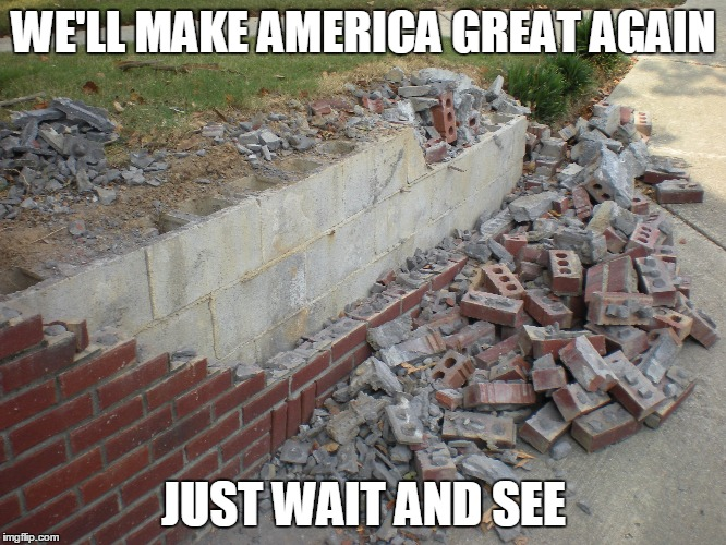 Wall | WE'LL MAKE AMERICA GREAT AGAIN JUST WAIT AND SEE | image tagged in donald trump | made w/ Imgflip meme maker