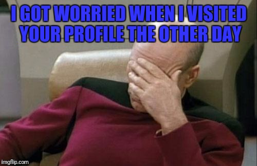 Captain Picard Facepalm Meme | I GOT WORRIED WHEN I VISITED YOUR PROFILE THE OTHER DAY | image tagged in memes,captain picard facepalm | made w/ Imgflip meme maker
