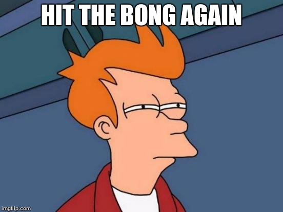 Futurama Fry Meme | HIT THE BONG AGAIN | image tagged in memes,futurama fry | made w/ Imgflip meme maker